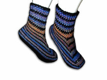 Striped Socks - crochet - without Heel