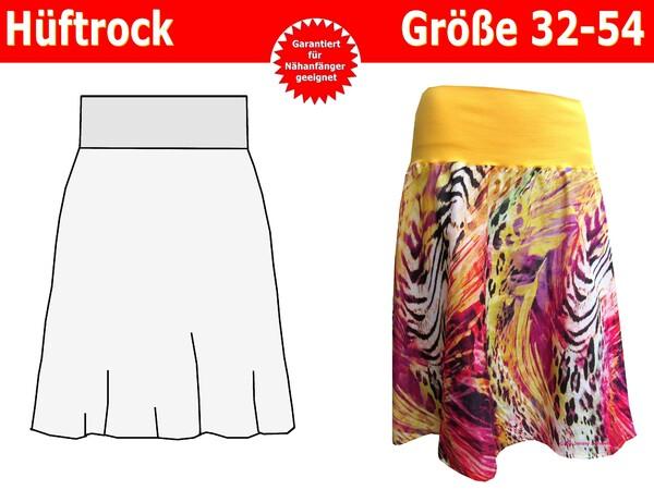 Damenrock mit Bündchen, Hüftrock - Schnittmuster und Nähanleitung