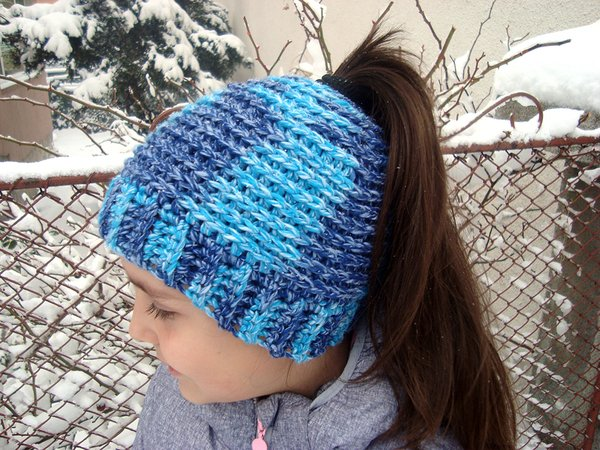 Crochet Pattern Messy Bun Hat Or Ponytail Beanie Winter Hat For