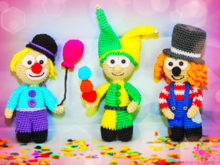 Fluffy Clown Trio - Crochet Pattern