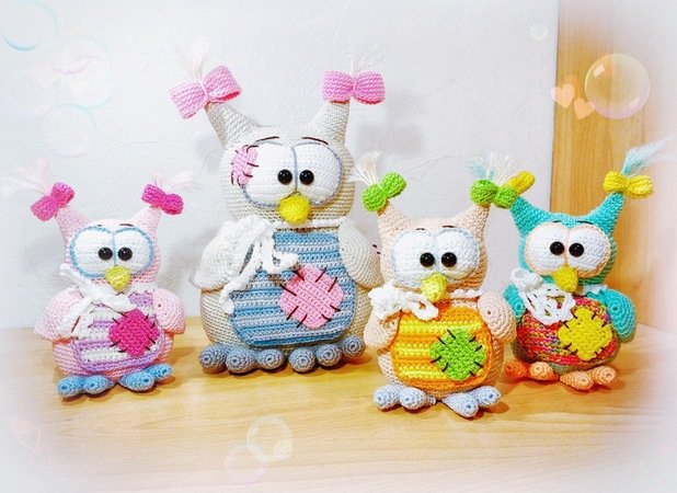 Crochet Pattern Owl - Owl-Mom and Babys - English