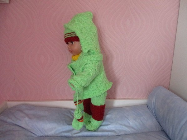 Strickanleitung Jacke mit Handschuhe und Mütze für Babypuppen ca. 43 cm