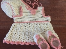 Crochet Baby Girl Layette Pattern, size: Newborn 0-3 months, Baby Summer Set, Dress, Bonnet, Ballet Flats, PDF, DIgital Download