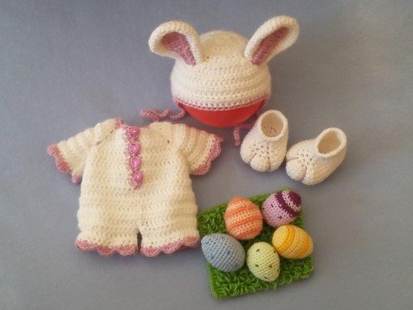 Kleidung für Puppe 36 cm häkeln / Hasenkostüm