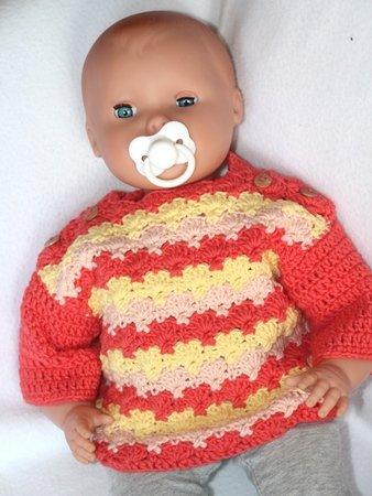 einfache Häkelanleitung Pullover für Baby & Puppe \