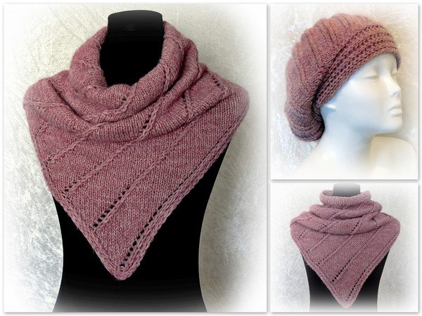 Knitting Pattern Set Bunde Cowl Loop Nelthil And Hat Beanie