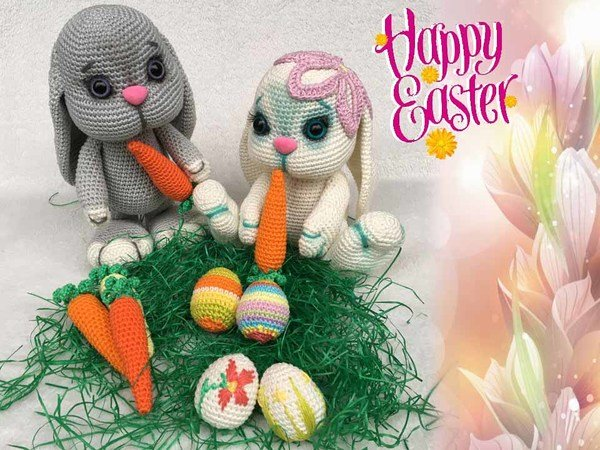 The Eastern Bunny Family Pattern Amigurumi PDF Deutsch - English