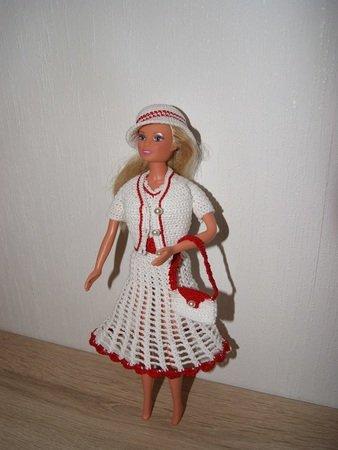 Häkelanleitung Barbie Set 5 teilig Kleid, Jacke, Hut, Gürtel, Tasche