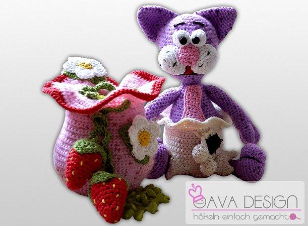 Häkelanleitung Katze im Sack und Erdbeer-Beutel