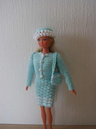 Häkelanleitung Barbie Set 4 teilig Kleid, Jacke, Hut, Tasche,Türkis/Weiß