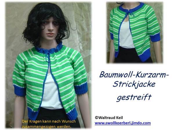 detailing c6aad ef860 Strickanleitung Baumwoll-Kurzarm-Jacke gestreift