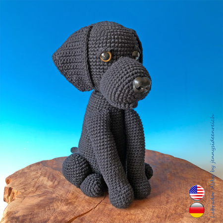 Crochet Pattern Abby the lab, crochet a sitting dog, amigurumi dog by jennysideenreich