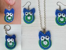 Crochet Pattern Owl Jewlry, pendant, earrings, key chain
