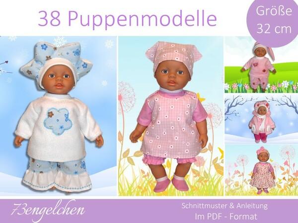 Schnittmuster 38 Modelle für Gr: 32cm Puppenkleidung