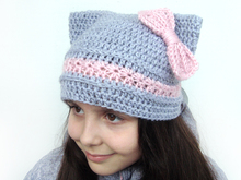 Cat hat with bow, Kitty ears hat