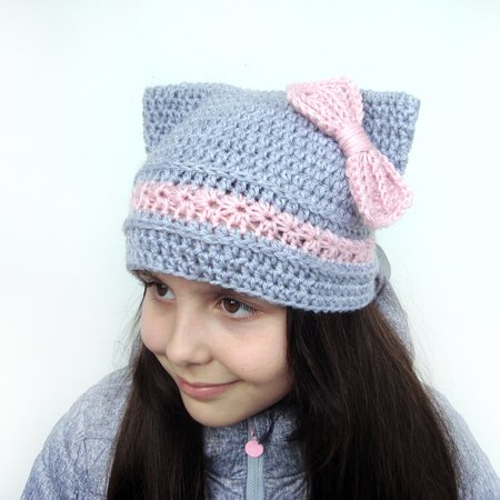 Cat Hat With Bow Kitty Ears Hat
