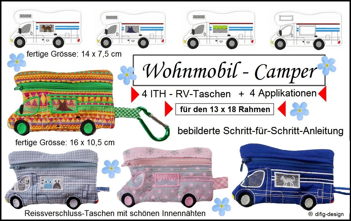 Ith Stickdatei Wohnmobil-Camper, Taschen für den 13x18 Rahmen ...