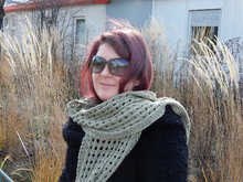"Summer scarf knitting pattern ""In a Mellow Mood"" in aran weight yarn"