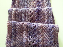 "Lace and Cables Scarf Knitting Pattern ""Alpine Roses"""