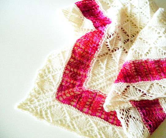 "Lace Shawl Knitting Pattern in two colors ""But Snow White Fairer is than You"""