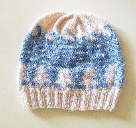 Strickmuster für zweifarbige Mütze mit Winterlandschaft \