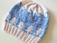 "Winter Wonderland beanie knitting pattern ""Snowflakes Keep Falling"" in stranded colorwork"