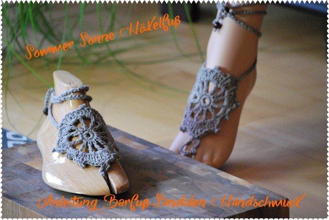 Barfuß-Sandale mit Häkelschrift Morgensonne