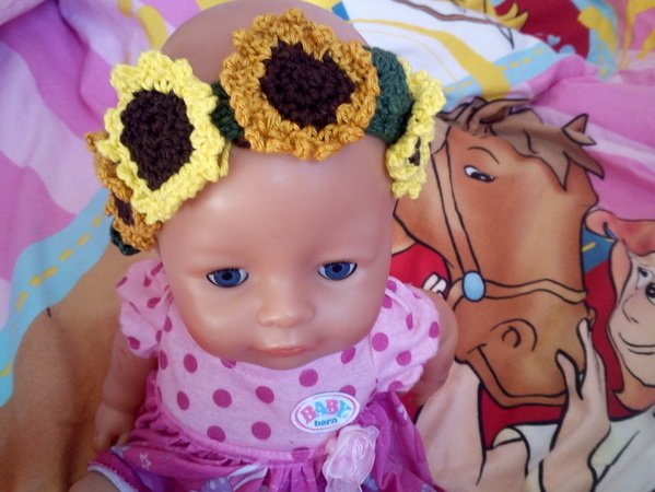 Häkelanleitung- Haarband mit Sonnenblumen für Puppen 43 cm groß