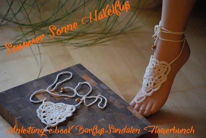 Boho - Barfuß-Sandale mit Häkelschrift Flowerbunch Hippie
