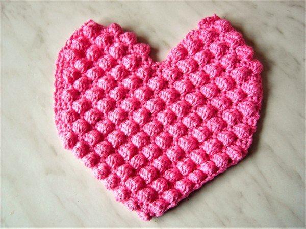Häkelanleitung Herz mit Popcornmuster (Hülle für Körnerkissen oder ...