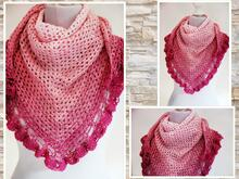 "triangular shawl ""granny&ruffles-border"""