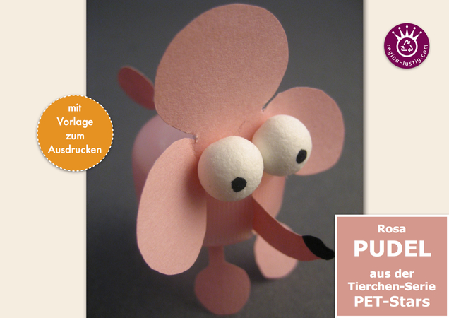 Rosa Pudel lustiges PET-Pet, Upcycling