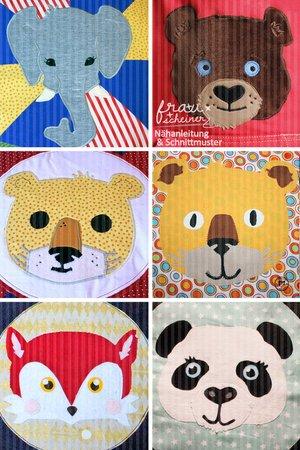 Applikationsvorlage Fuchs, Elefant, Bär, Panda, Tiger und Löwe