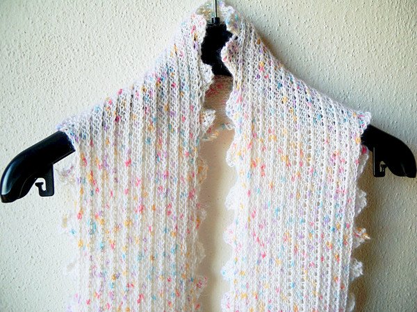 Diagonal Knit Scarf Frilly Thingy