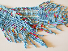 "Summer Scarf Knitting pattern ""Boho in Soho"", knit scarf with crocheted ends"