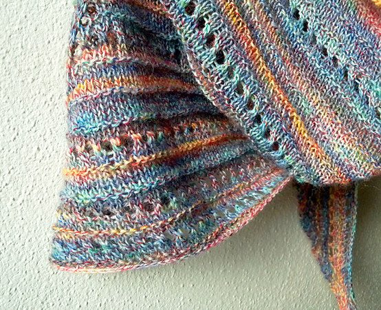 "Triangle Shawl knitting pattern ""Have a Seat Please"", easy pattern with eyelets"