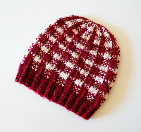 "Plaid Hat Knitting Pattern in stranded colorwork ""Gingham on My Mind"""