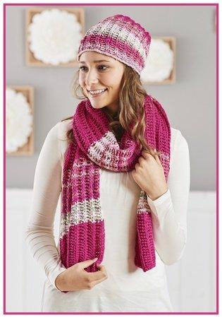 Schal Und Mütze Pink Lady Tunesisch Häkeln