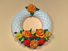 Crochet Pattern Rose Wreath