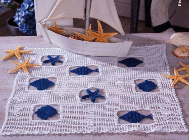 Maritime Deckchen - mit Muscheln und Meerestieren