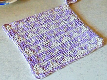 "Double knitted potholder or dishcloth with hearts ""The Way to a Heart"""