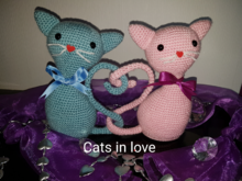 "Crochet pattern ""Cats in love"" (20 cm/7,87 inch)"