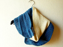 "Infinity Scarf Knitting Pattern ""Veiled in Clouds"", cowl in two colors"