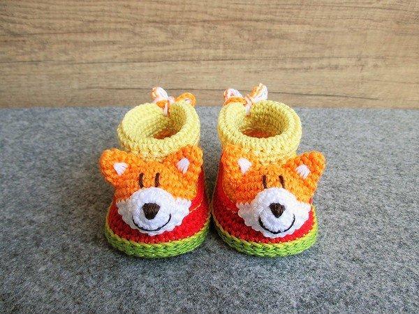 Häkelanleitung Baby-Booties / Babyschühchen Fuchs - 4 Größen