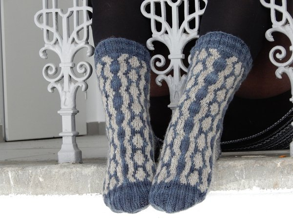 "Knitted socks in stranded colorwork ""Moonlit Rivers"""