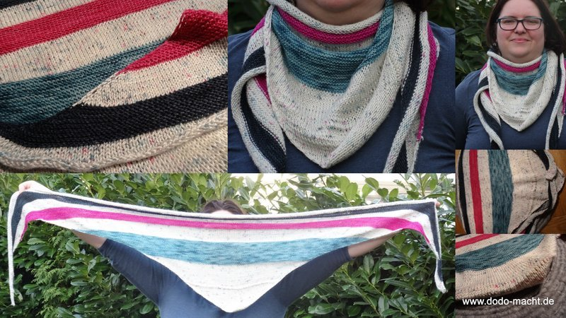 Speckled  Stripes - short shawl