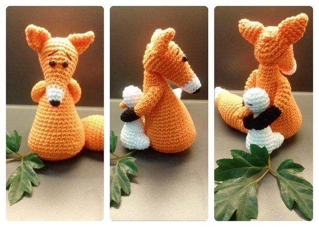 Harzer Fuchs Amigurumi Häkelanleitung Hund sitzend häkeln   450x631