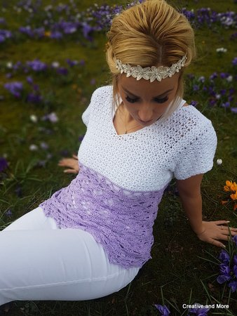 Crochet pattern summershirt crocus blossom
