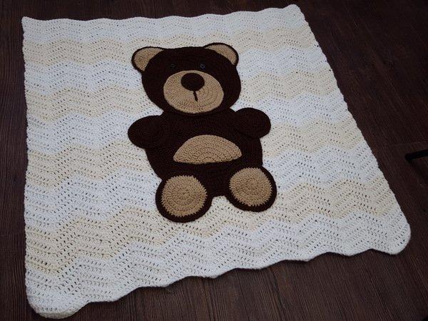 Häkelanleitung Babydecke Decke Bär 85x85 cm