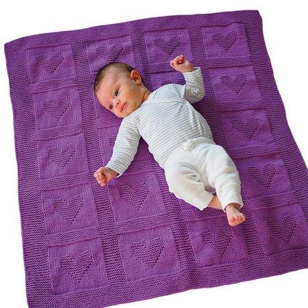 babydecke stricken herzmuster stricken. Black Bedroom Furniture Sets. Home Design Ideas